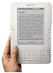 A white Kindle e-reader